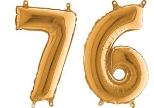 Luftballon Zahl 76 Zahlenballon gold (66 cm)