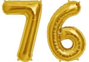 Luftballon Zahl 76 Zahlenballon gold (86 cm)