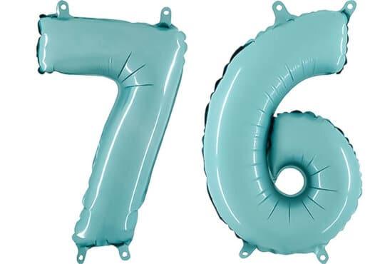 Luftballon Zahl 76 Zahlenballon pastell-blau (100 cm)