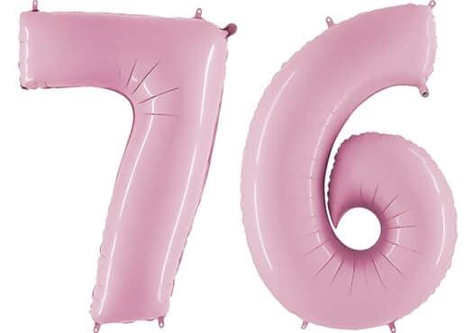 Luftballon Zahl 76 Zahlenballon pastell-pink (100 cm)