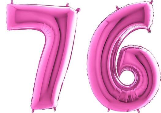 Luftballon Zahl 76 Zahlenballon pink (66 cm)