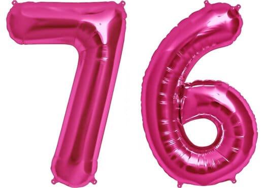 Luftballon Zahl 76 Zahlenballon pink (86 cm)