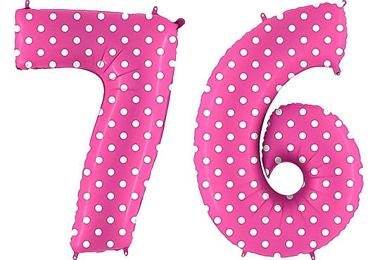 Luftballon Zahl 76 Zahlenballon pink mit weißen Punkten (100 cm)