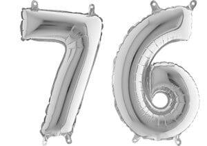 Luftballon Zahl 76 Zahlenballon silber (66 cm)