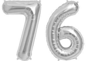 Luftballon Zahl 76 Zahlenballon silber (86 cm)