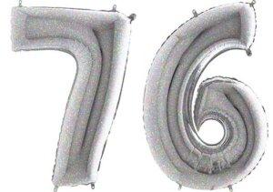 Luftballon Zahl 76 Zahlenballon silber-holographic (100 cm)