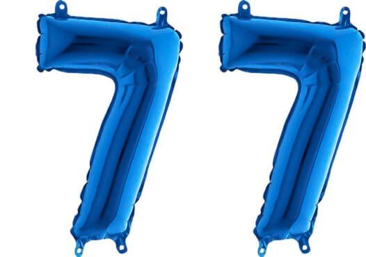 Luftballon Zahl 77 Zahlenballon blau (66 cm)
