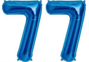 Luftballon Zahl 77 Zahlenballon blau (86 cm)
