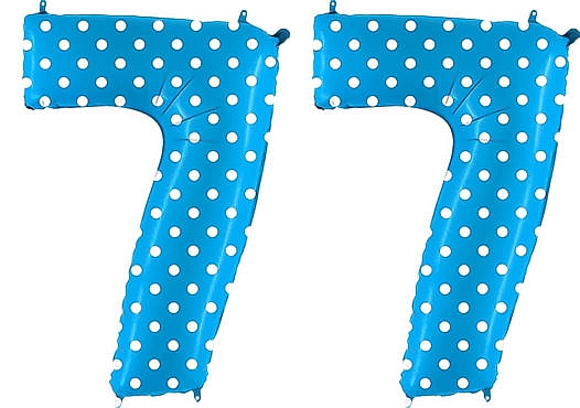 Luftballon Zahl 77 Zahlenballon blau mit weißen Punkten (100 cm)