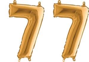 Luftballon Zahl 77 Zahlenballon gold (66 cm)