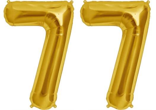 Luftballon Zahl 77 Zahlenballon gold (86 cm)