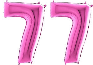Luftballon Zahl 77 Zahlenballon pink (66 cm)