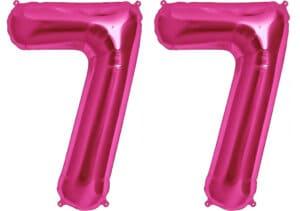 Luftballon Zahl 77 Zahlenballon pink (86 cm)