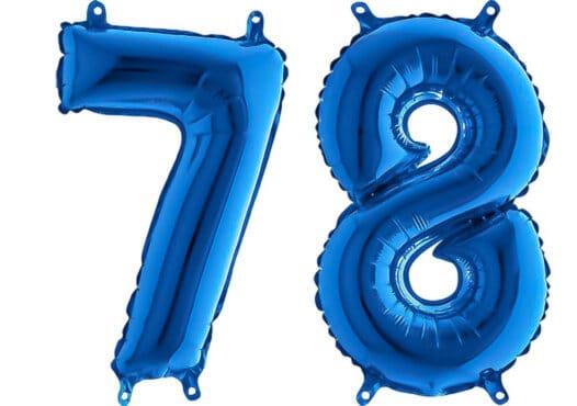 Luftballon Zahl 78 Zahlenballon blau (66 cm)