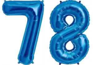 Luftballon Zahl 78 Zahlenballon blau (86 cm)