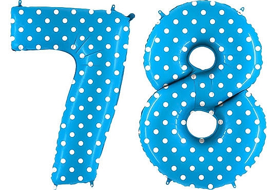 Luftballon Zahl 78 Zahlenballon blau mit weißen Punkten (100 cm)
