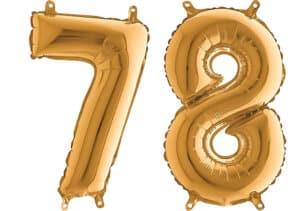 Luftballon Zahl 78 Zahlenballon gold (66 cm)