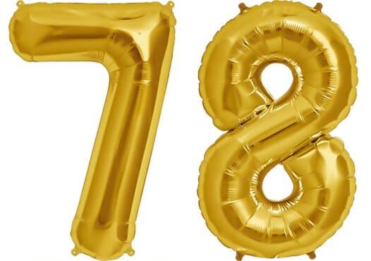 Luftballon Zahl 78 Zahlenballon gold (86 cm)