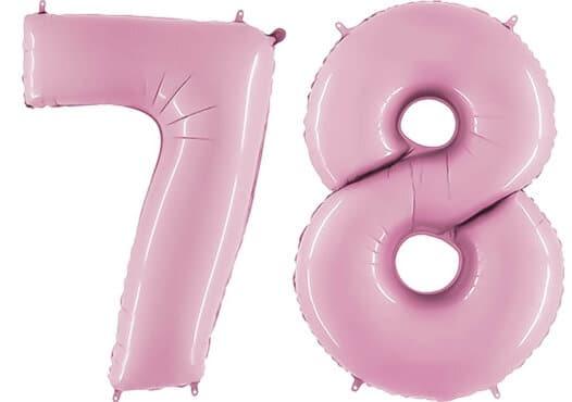 Luftballon Zahl 78 Zahlenballon pastell-pink (100 cm)