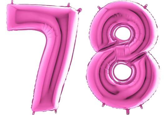 Luftballon Zahl 78 Zahlenballon pink (66 cm)