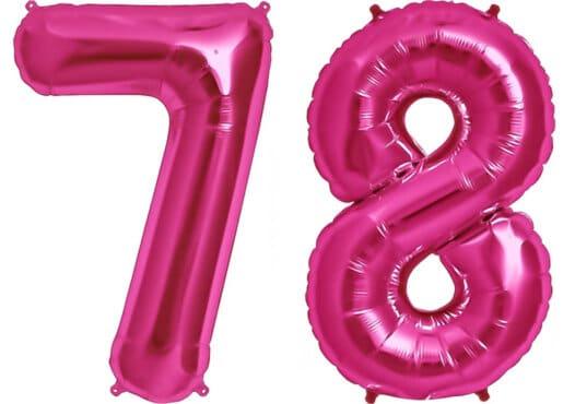 Luftballon Zahl 78 Zahlenballon pink (86 cm)