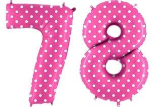 Luftballon Zahl 78 Zahlenballon pink mit weißen Punkten (100 cm)