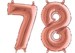 Luftballon Zahl 78 Zahlenballon rosegold (66 cm)