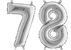 Luftballon Zahl 78 Zahlenballon silber (66 cm)