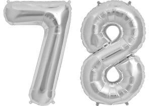 Luftballon Zahl 78 Zahlenballon silber (86 cm)