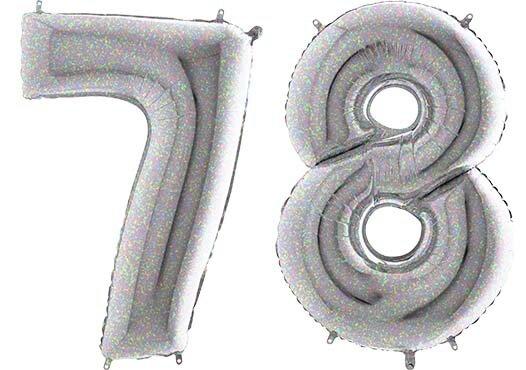 Luftballon Zahl 78 Zahlenballon silber-holographic (100 cm)