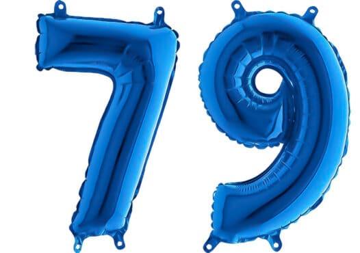 Luftballon Zahl 79 Zahlenballon blau (66 cm)