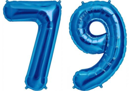 Luftballon Zahl 79 Zahlenballon blau (86 cm)
