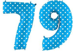 Luftballon Zahl 79 Zahlenballon blau mit weißen Punkten (100 cm)