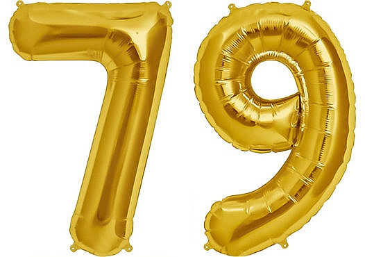 Luftballon Zahl 79 Zahlenballon gold (86 cm)