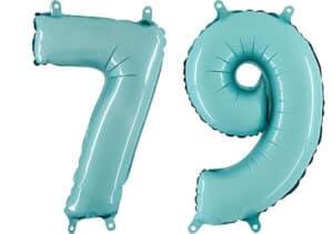 Luftballon Zahl 79 Zahlenballon pastell-blau (100 cm)