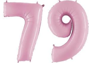 Luftballon Zahl 79 Zahlenballon pastell-pink (100 cm)