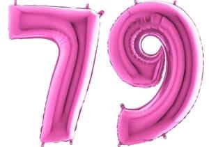 Luftballon Zahl 79 Zahlenballon pink (66 cm)