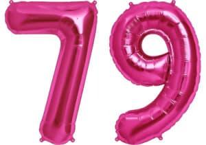 Luftballon Zahl 79 Zahlenballon pink (86 cm)