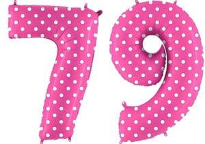 Luftballon Zahl 79 Zahlenballon pink mit weißen Punkten (100 cm)