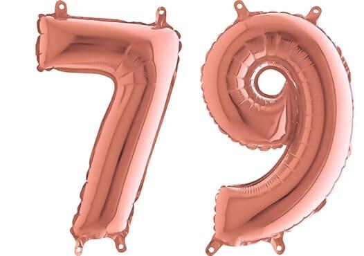 Luftballon Zahl 79 Zahlenballon rosegold (66 cm)