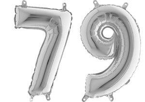 Luftballon Zahl 79 Zahlenballon silber (66 cm)