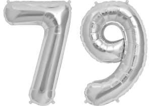 Luftballon Zahl 79 Zahlenballon silber (86 cm)