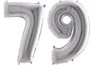 Luftballon Zahl 79 Zahlenballon silber-holographic (100 cm)