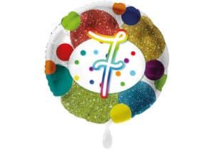 Glitzer-Luftballon mit der Zahl 7 in bunt (38 cm)