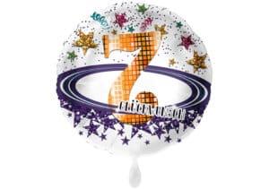 Runder Luftballon mit Glitzersternen und Zahl 7 in weiß (38 cm)