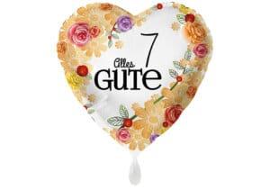 Herzluftballon mit Rosen Alles Gute Zahl 7 weiß (38 cm)