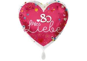 Herz Luftballon Alles Liebe Zahl 80 rot (38 cm)