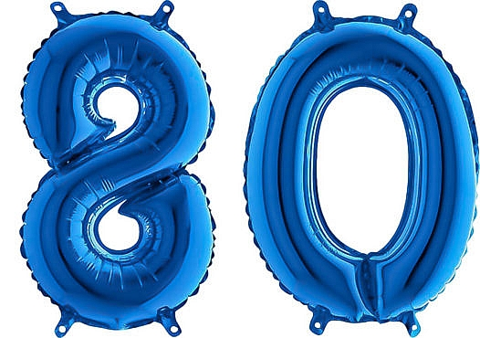 Luftballon Zahl 80 Zahlenballon blau (66 cm)