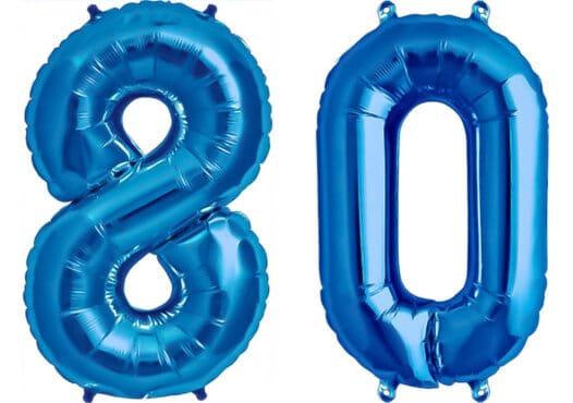 Luftballon Zahl 80 Zahlenballon blau (86 cm)