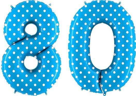 Luftballon Zahl 80 Zahlenballon blau mit weißen Punkten (100 cm)